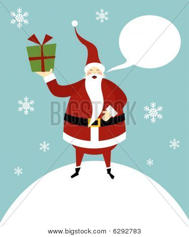 Christmas Serie: Happy Santa Claus On A Snow Mountain With Gifts