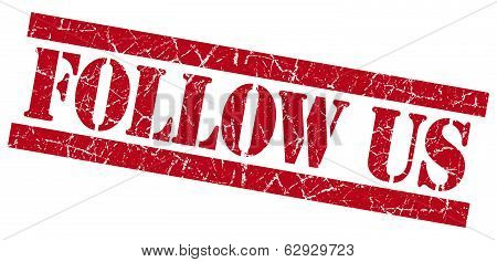 Follow Us Red Square Grunge Textured Stamp Isolated On White