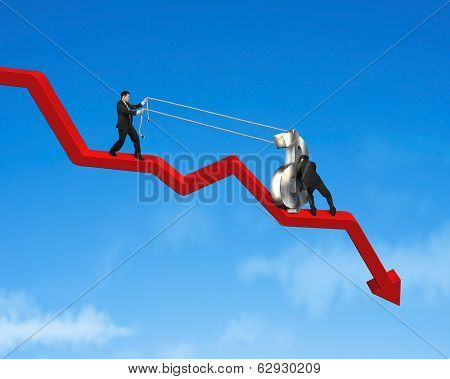 Cooperating To Moving Up Money Symbol On Red Arrow