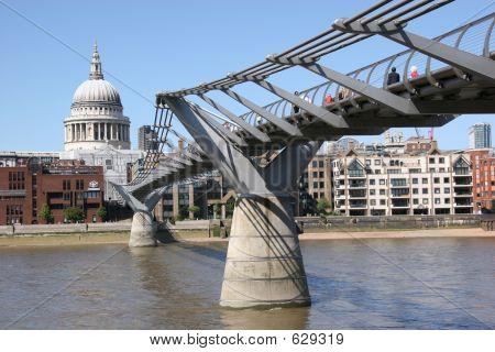 St Pauls And Millennium Bridge, London, UK