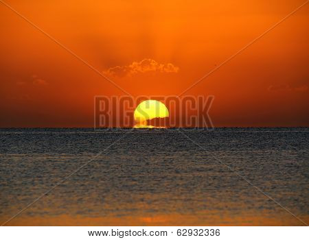 beauty sunrise over sea - telephoto lens