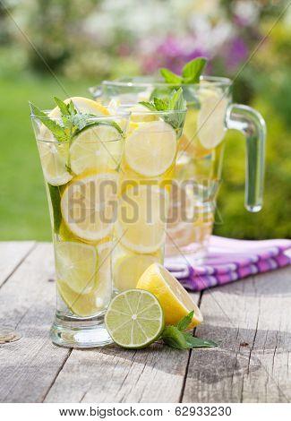 Homemade lemonade with fresh citruses