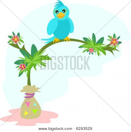 Blue Bird on a Tree Branch