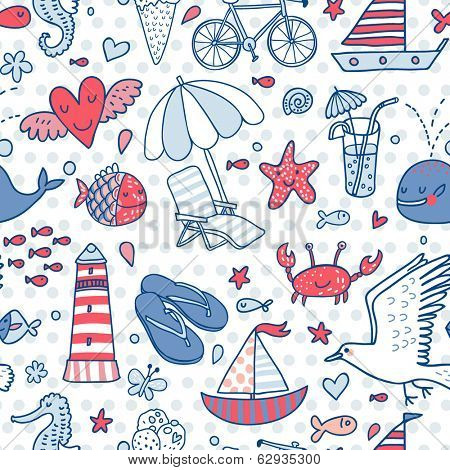 Funny seamless pattern with summer elements: lounge, seagull, umbrella, bicycle, ice-cream, crab, whale, cocktail, lighthouse, fishes, yacht, seahorse. Cute vector vacation texture in blue colors