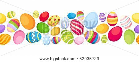 Seamless horizontal background with colorful Easter eggs. Vector illustration.