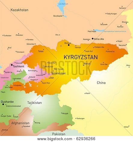 Vector detailed map of Kyrgyzstan country