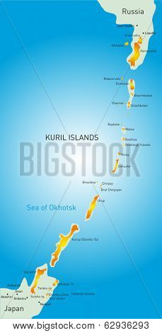 Vector detailed map of Kuril island