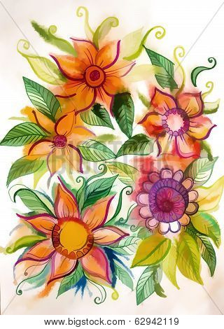 Beautiful Vivid Flowers With Leaves