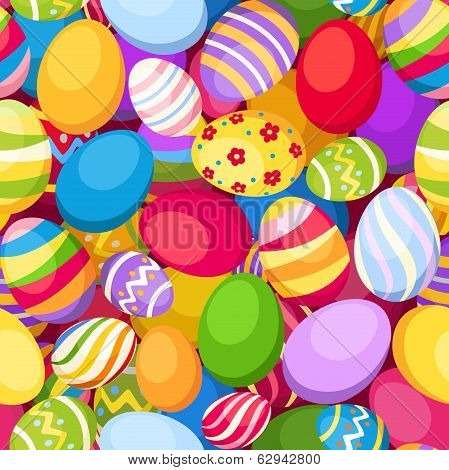 Seamless background with colorful Easter eggs. Vector illustration.