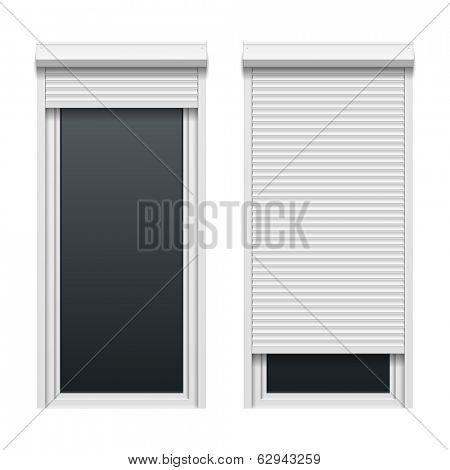 Door with roller shutters. Vector.