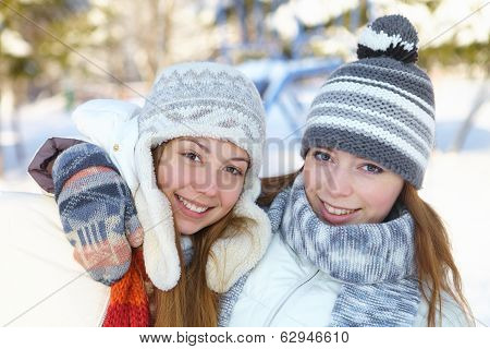 Winter. Young Women Outdoors.