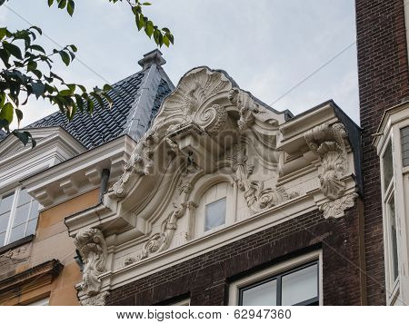 Facade Of An Amsterdam Canal House With Neck Gable Ca. 1758
