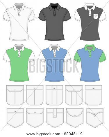 Men's short sleeve shirt design templates. Different color variants and different pockets. Vector illustration. No mesh. Redact color very easy.