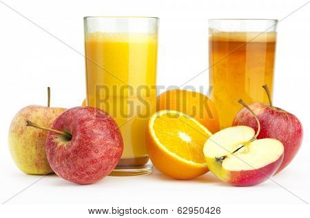 Orange juice and apple juice against a white background