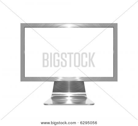 Metallic monitor object on white background