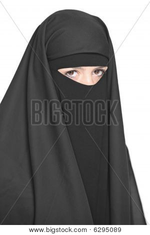 Black Veiled Woman Isolated On White