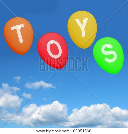 Toys Balloons Represent Kids And Children's Playthings