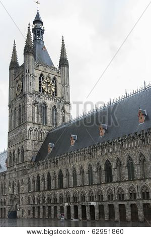 Belfry Of Ypres With Flanders Fields Museum.