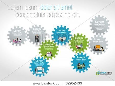 Template for advertising brochure with business people over colorful machine gear wheel. Cogwheel.