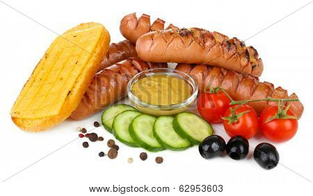 Grilled sausages with cheese toasts isolated on white