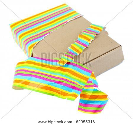 Unwrapped gift box isolated on white