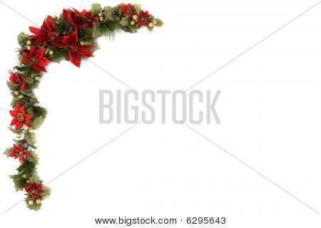 Poinsettia And Christmas Decoration Border, Corner Border.