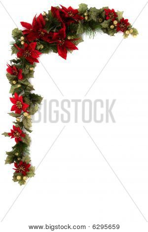 Poinsettia And Christmas Decoration Border, Corner Border.