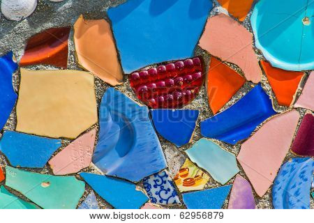Closeup Of Watts Towers Wall Faced With Colorful Ceramics