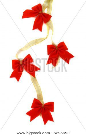 Decoration, Gold Ribbon With Red Bow