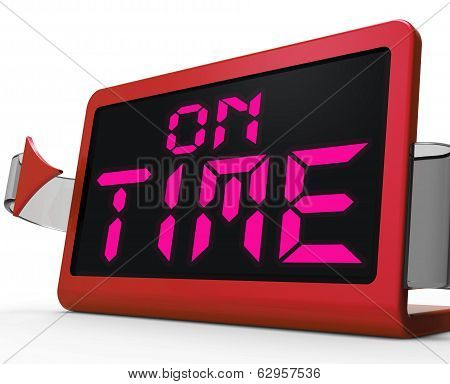 On Time Clock Shows Punctual And Reliable