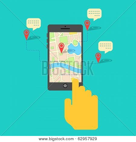 illustration of hand clicking gps map on mobile