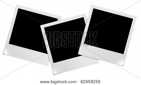 Three blank photo frames isolated on white background. For eps file look id:32797222