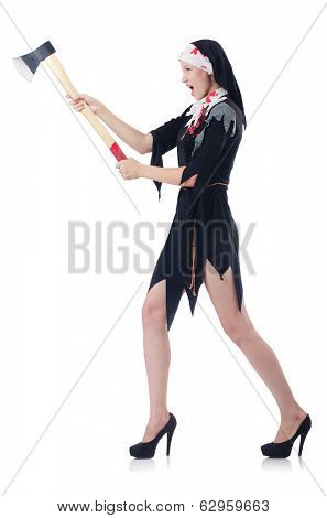 Woman devil with axe  pushing away virtual obstacle  isolated on white