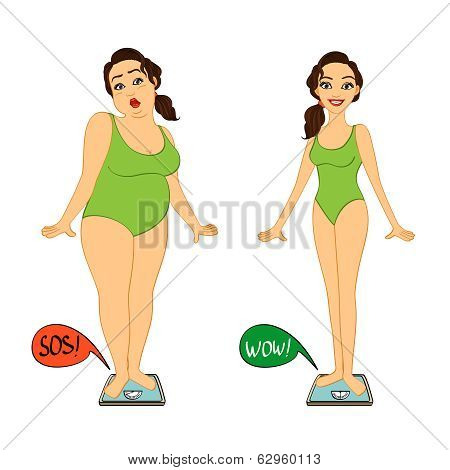 Fat and slim woman on weights scales