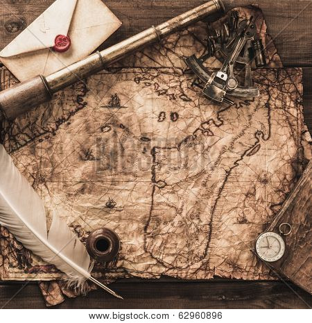 Nautical objects on a vintage map