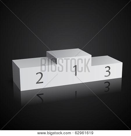 White sports winners podium on black
