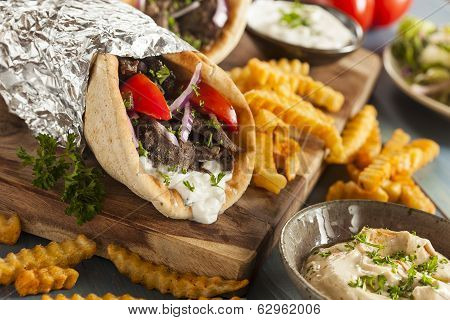 Homemade Meat Gyro With French Fries