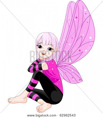 Illustration of cute little fairy emo. Raster version.