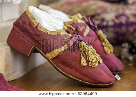 Mafra, Portugal - September 02, 2013: Baroque priest shoes. Mafra National Palace, Convent and Basilica. Franciscan Religious Order. Baroque architecture.