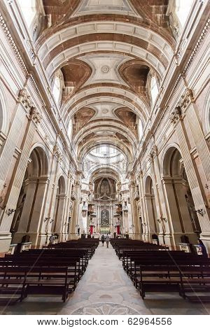 Mafra, Portugal - July 03, 2013: Nave of the Basilica of the Mafra Palace and Convent. Baroque architecture. Franciscan religious order.