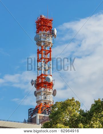 mobile telephone radio tower with blue sky background