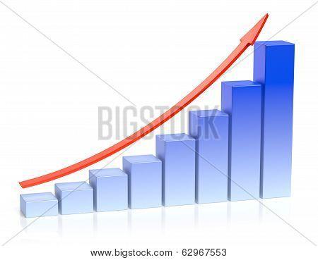 Growing Blue Bar Chart Business Success Concept