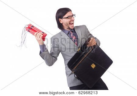 Businessman with red sticks of dynamite in terrorist  concept isolated on white