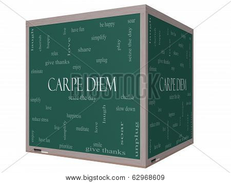 Carpe Diem Word Cloud Concept On A 3D Cube Blackboard