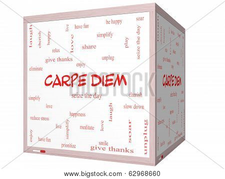 Carpe Diem Word Cloud Concept On A 3D Cube Whiteboard