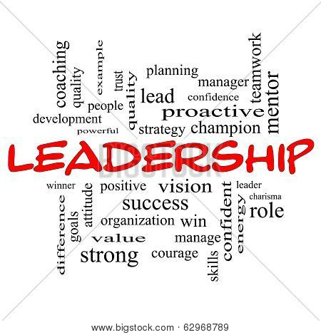 Leadership Word Cloud Concept In Red Caps