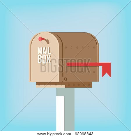 Mail postbox on pole with red flag