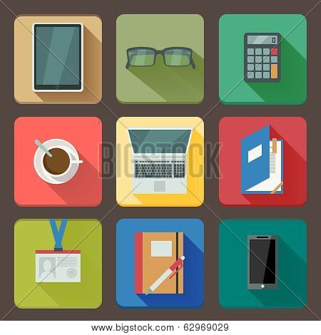 Business set of workplace icons