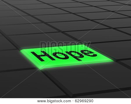 Hope Button Shows Hoping Hopeful Wishing Or Wishful