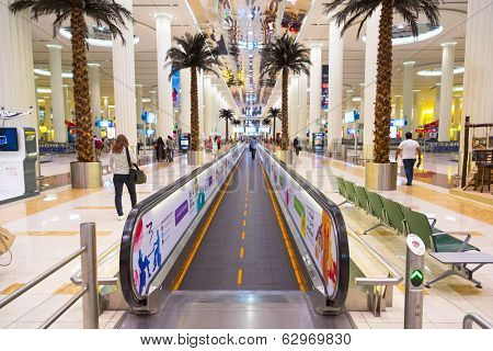 DUBAI, UAE - MARCH 24: Interior of terminal 3 at Dubai International Airport on March 24, 2014. This is the worlds largest airport terminal with over 1,713,000 m2 exclusively for Emirates airlines.